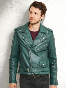 Higgs Leathers NEW!  Brandzee (mens Teal shade Biker Leather jackets)